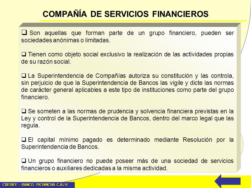 CREDIFE – BANCO PICHINCHA C.A./ 6 COMPAÑÍA DE SERVICIOS FINANCIEROS Son aquellas que forman parte de un grupo financiero, pueden ser sociedades anónim