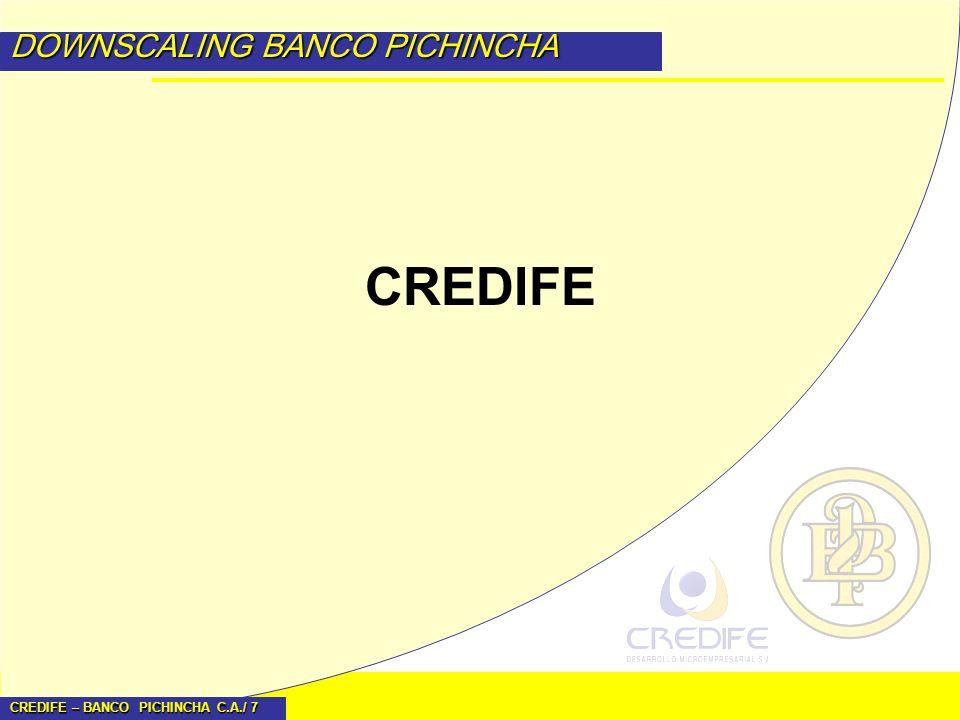 CREDIFE – BANCO PICHINCHA C.A./ 8 DOWNSCALING BANCO PICHINCHA Historia En 1998 se realiza una investigación de mercado y se define crear Credifé en Mayo de 1999.