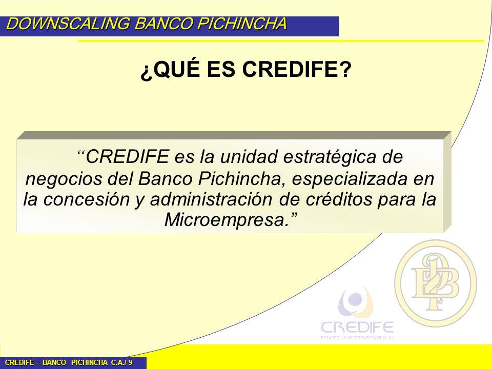 CREDIFE – BANCO PICHINCHA C.A./ 9 DOWNSCALING BANCO PICHINCHA CREDIFE es la unidad estratégica de negocios del Banco Pichincha, especializada en la co
