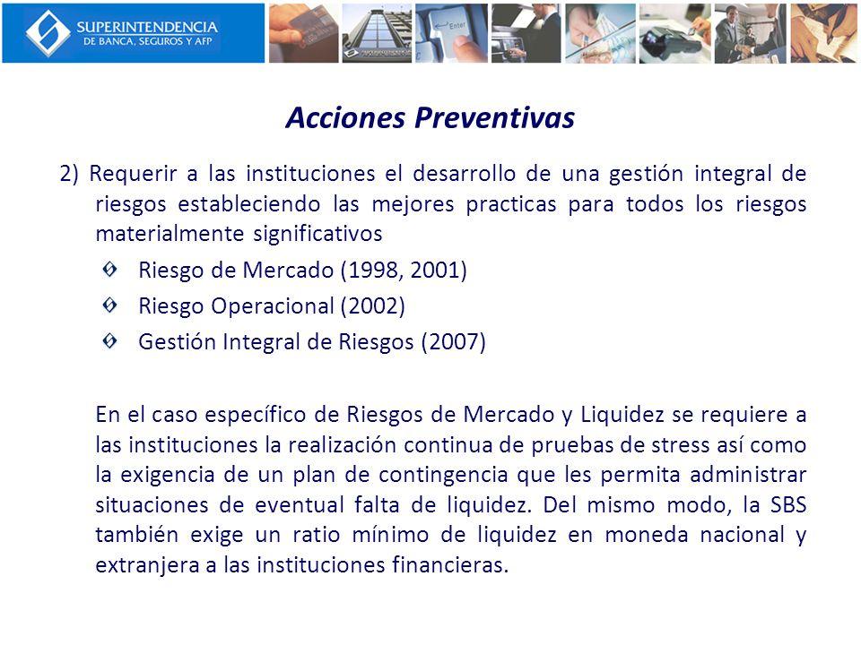 Acciones Preventivas 2) Requerir a las instituciones el desarrollo de una gestión integral de riesgos estableciendo las mejores practicas para todos l