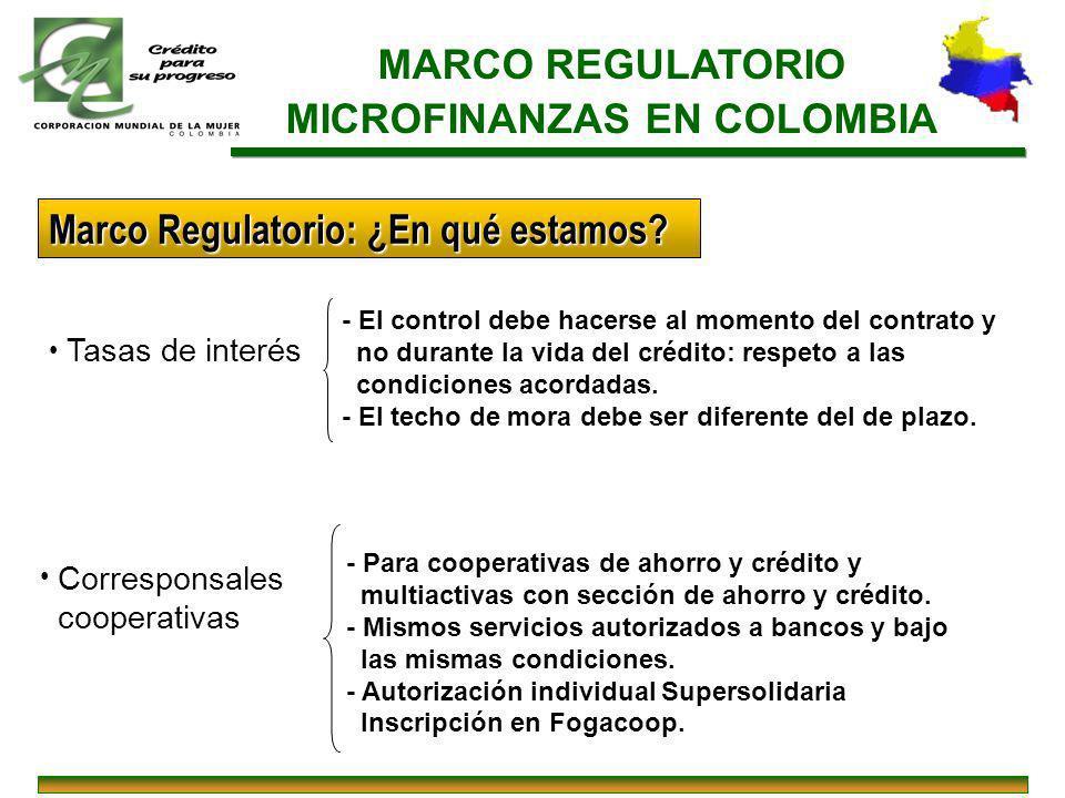 MARCO REGULATORIO MICROFINANZAS EN COLOMBIA Tasas de interés - El control debe hacerse al momento del contrato y no durante la vida del crédito: respe
