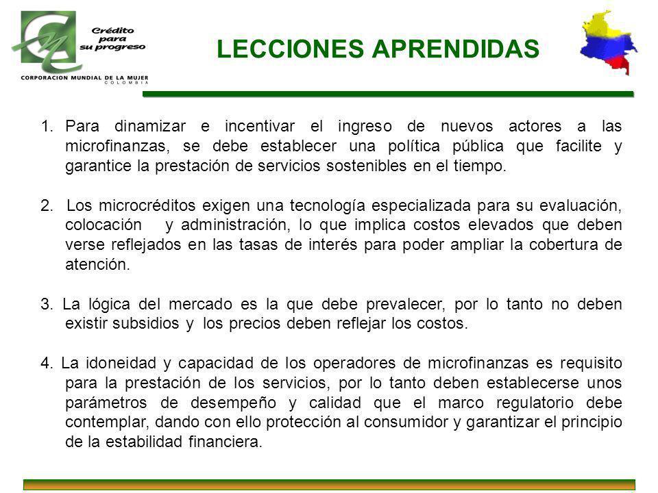 LECCIONES APRENDIDAS 1.Para dinamizar e incentivar el ingreso de nuevos actores a las microfinanzas, se debe establecer una política pública que facil