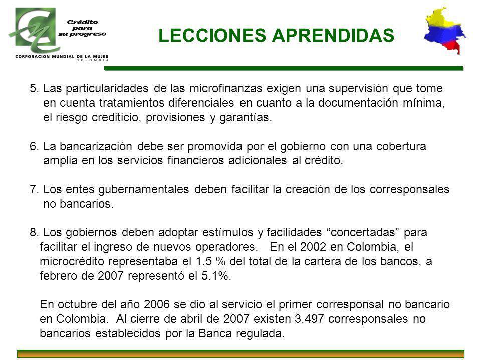 LECCIONES APRENDIDAS 5. Las particularidades de las microfinanzas exigen una supervisión que tome en cuenta tratamientos diferenciales en cuanto a la