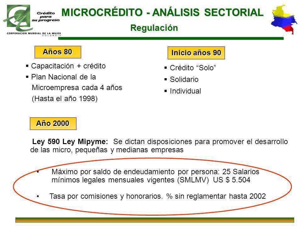 Capacitación + crédito Plan Nacional de la Microempresa cada 4 años (Hasta el año 1998) Crédito Solo Solidario Individual Años 80 MICROCRÉDITO - ANÁLI