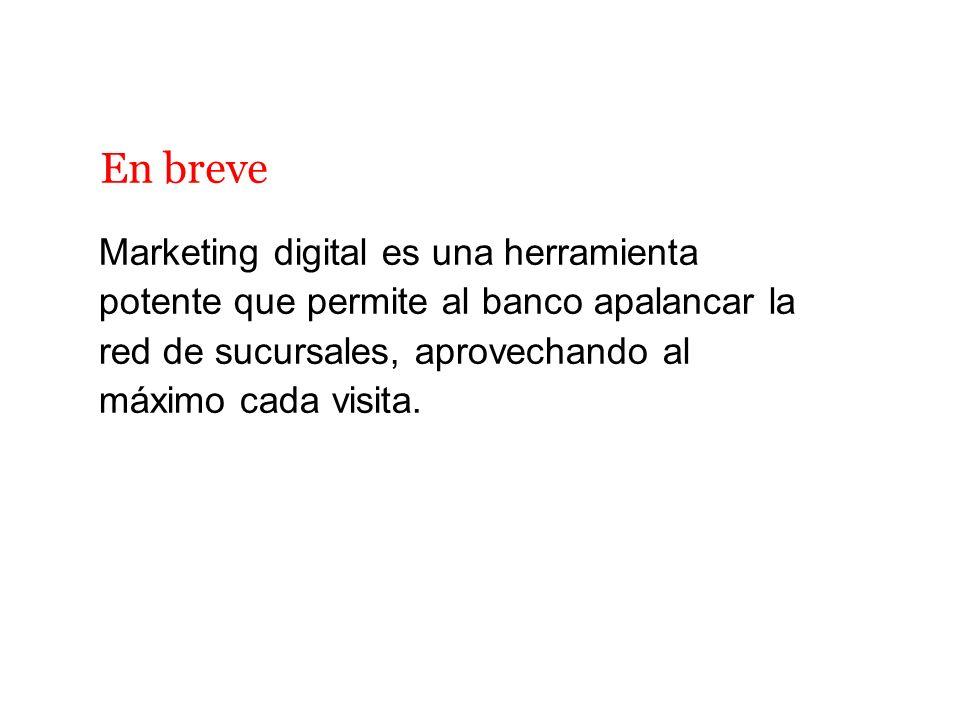Marketing digital es una herramienta potente que permite al banco apalancar la red de sucursales, aprovechando al máximo cada visita. En breve