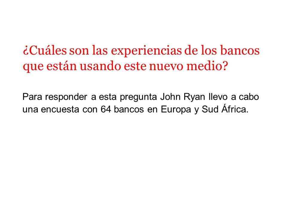 Para responder a esta pregunta John Ryan llevo a cabo una encuesta con 64 bancos en Europa y Sud África. ¿Cuáles son las experiencias de los bancos qu
