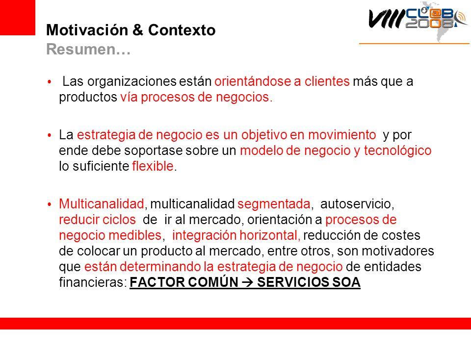 Motivación & Contexto Resumen… Las organizaciones están orientándose a clientes más que a productos vía procesos de negocios. La estrategia de negocio