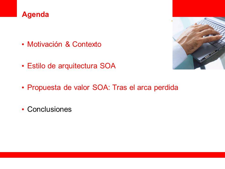 Agenda Motivación & Contexto Estilo de arquitectura SOA Propuesta de valor SOA: Tras el arca perdida Conclusiones