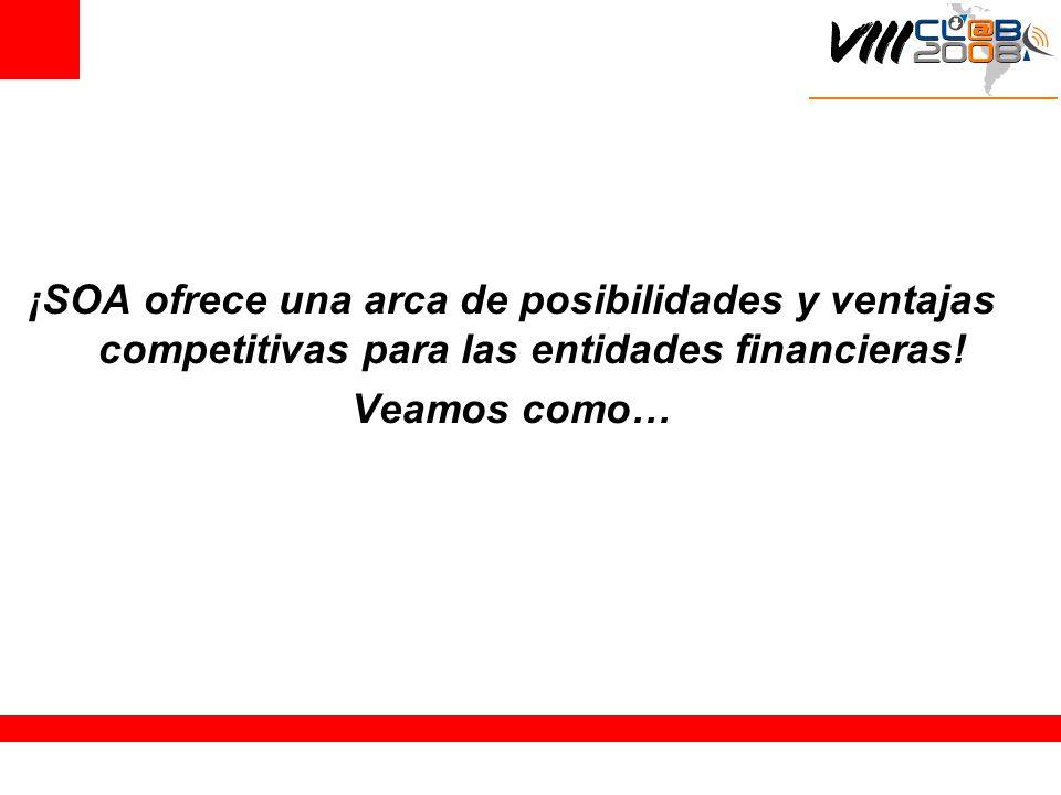 ¡SOA ofrece una arca de posibilidades y ventajas competitivas para las entidades financieras! Veamos como…