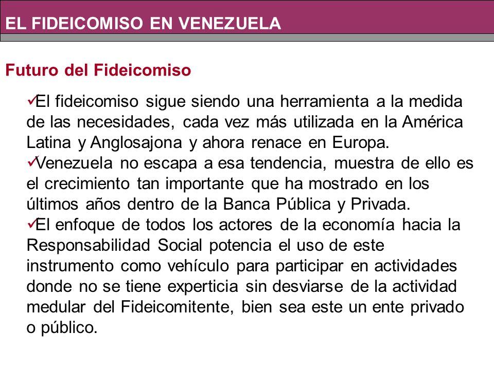 Futuro del Fideicomiso EL FIDEICOMISO EN VENEZUELA El fideicomiso sigue siendo una herramienta a la medida de las necesidades, cada vez más utilizada en la América Latina y Anglosajona y ahora renace en Europa.