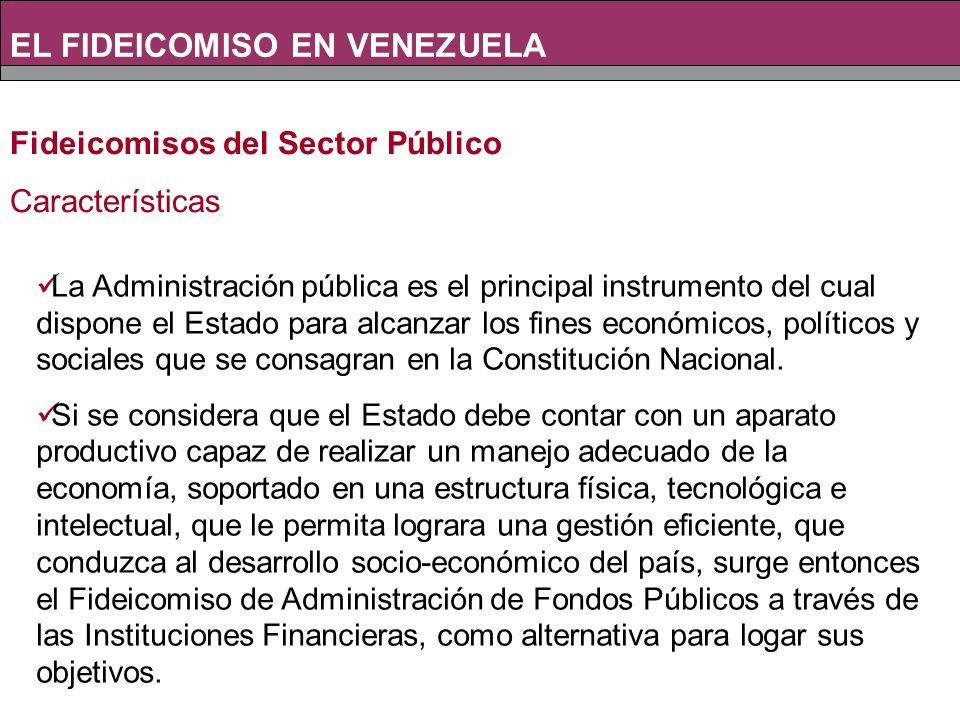 Fideicomisos del Sector Público Características La Administración pública es el principal instrumento del cual dispone el Estado para alcanzar los fines económicos, políticos y sociales que se consagran en la Constitución Nacional.