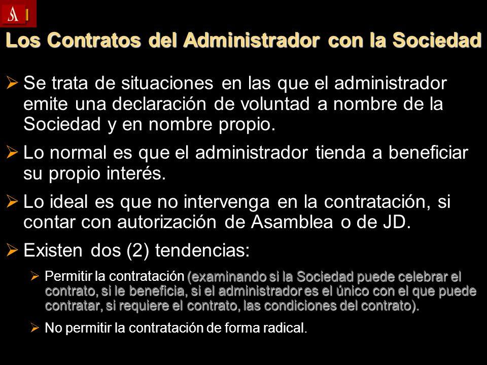 Los Contratos del Administrador con la Sociedad Se trata de situaciones en las que el administrador emite una declaración de voluntad a nombre de la S
