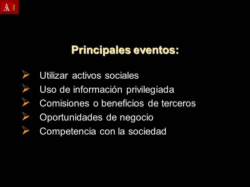 Principales eventos: Utilizar activos sociales Utilizar activos sociales Uso de información privilegiada Uso de información privilegiada Comisiones o