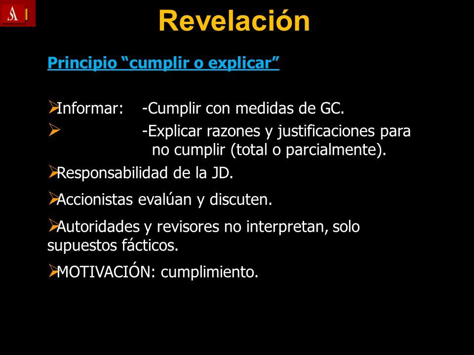 Revelación Principio cumplir o explicar Informar: -Cumplir con medidas de GC. Informar: -Cumplir con medidas de GC. -Explicar razones y justificacione