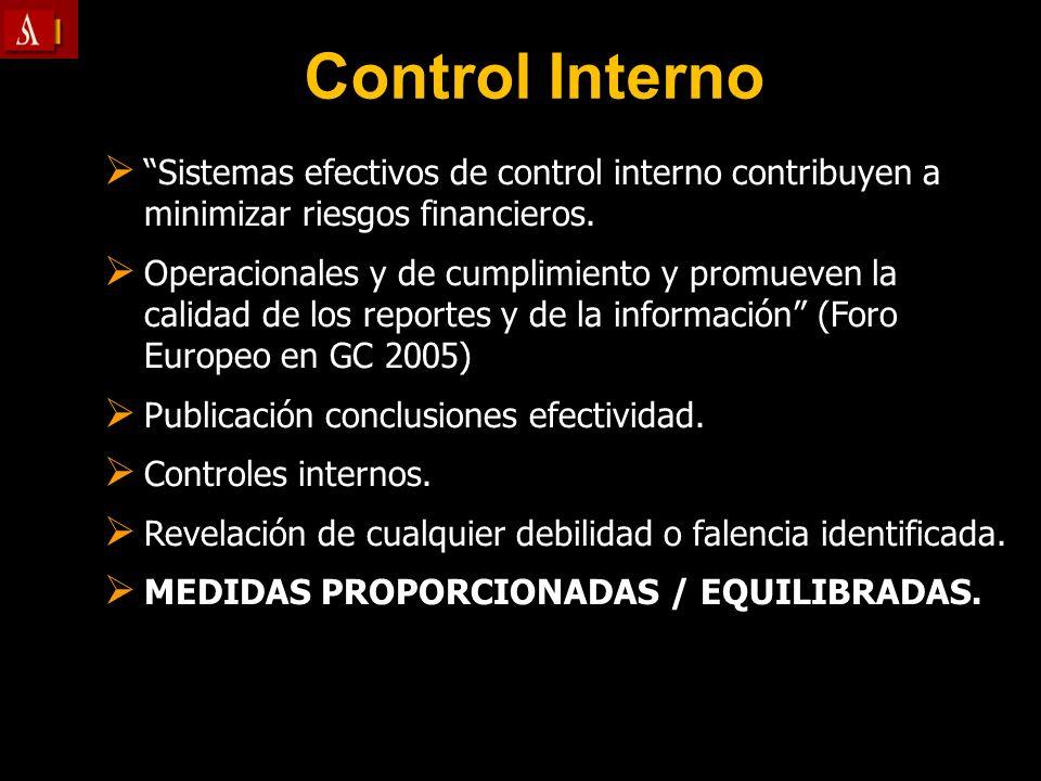 Control Interno Sistemas efectivos de control interno contribuyen a minimizar riesgos financieros. Sistemas efectivos de control interno contribuyen a