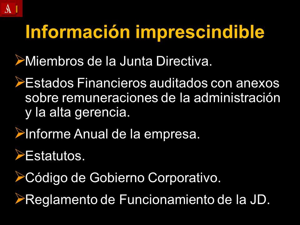 Información imprescindible Miembros de la Junta Directiva. Miembros de la Junta Directiva. Estados Financieros auditados con anexos sobre remuneracion