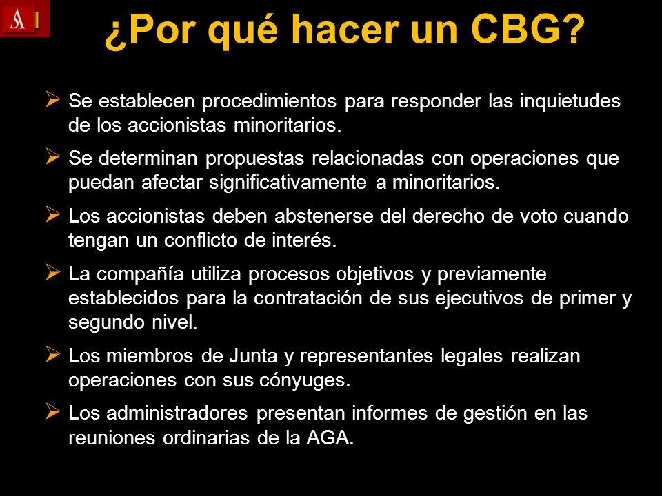 ¿Por qué hacer un CBG? Se establecen procedimientos para responder las inquietudes de los accionistas minoritarios. Se establecen procedimientos para