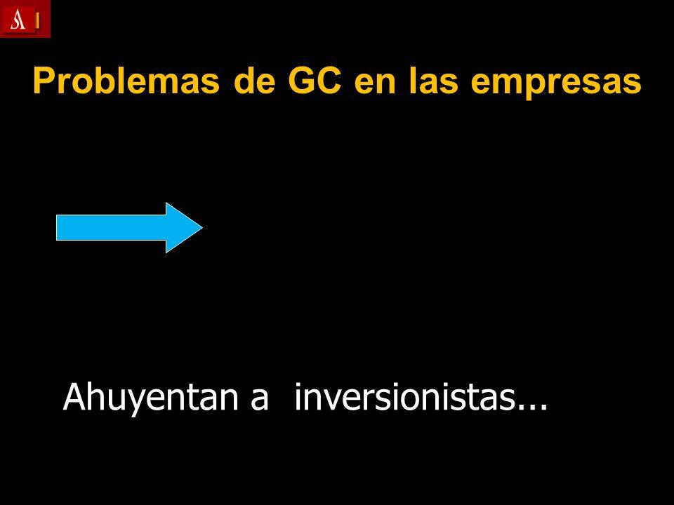 Problemas de GC en las empresas Ahuyentan a inversionistas...