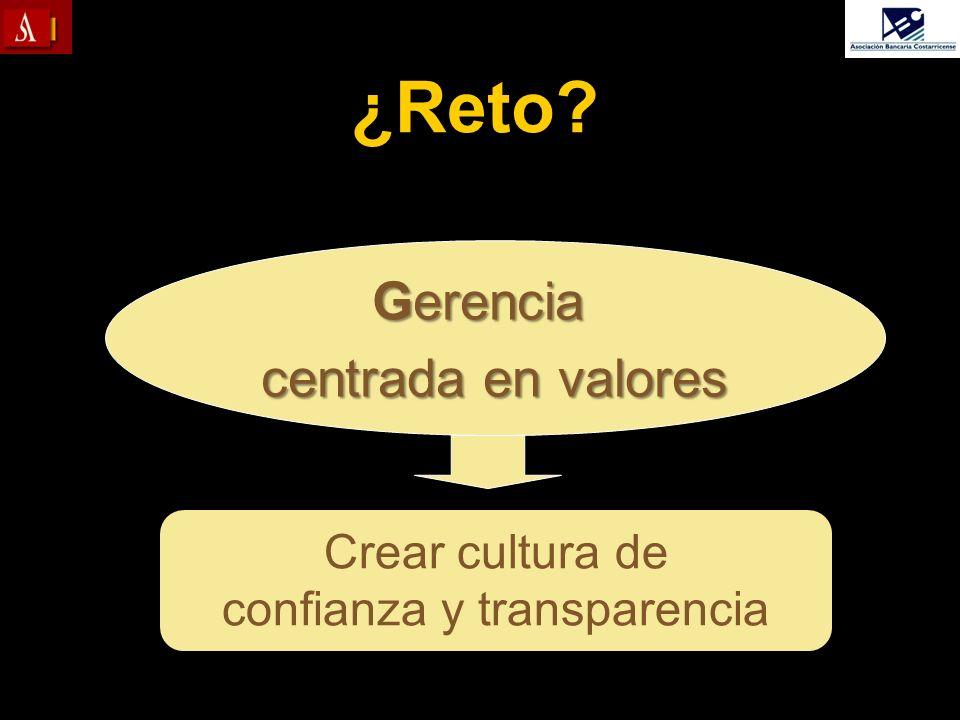 Crear cultura de confianza y transparencia ¿Reto? Gerencia centrada en valores