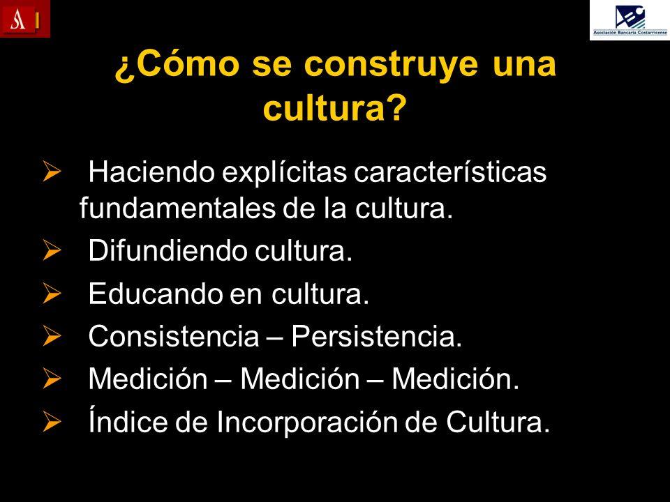 ¿Cómo se construye una cultura? Haciendo explícitas características fundamentales de la cultura. Difundiendo cultura. Educando en cultura. Consistenci