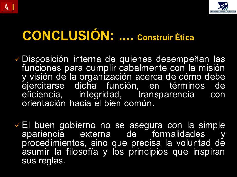 CONCLUSIÓN:.... Construir Ética Disposición interna de quienes desempeñan las funciones para cumplir cabalmente con la misión y visión de la organizac