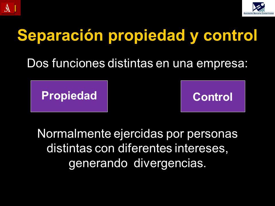 Separación propiedad y control Dos funciones distintas en una empresa: Normalmente ejercidas por personas distintas con diferentes intereses, generand