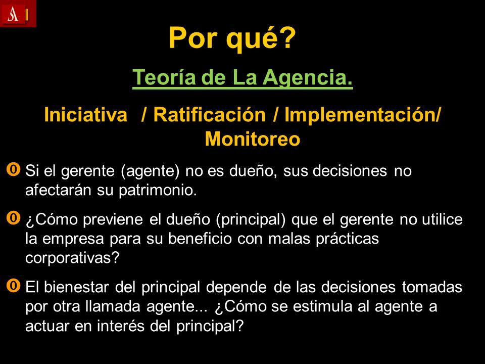 Por qué? Teoría de La Agencia. Iniciativa / Ratificación / Implementación/ Monitoreo Si el gerente (agente) no es dueño, sus decisiones no afectarán s