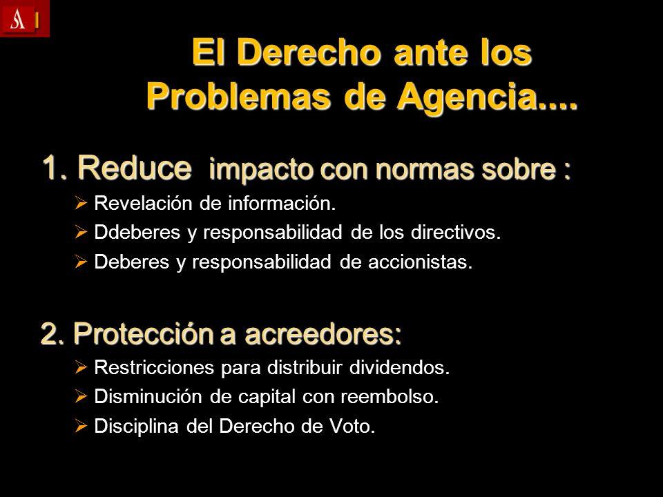 El Derecho ante los Problemas de Agencia.... 1. Reduce impacto con normas sobre : Revelación de información. Revelación de información. Ddeberes y res