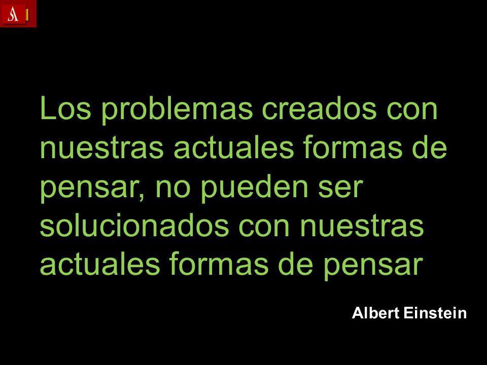 Albert Einstein Los problemas creados con nuestras actuales formas de pensar, no pueden ser solucionados con nuestras actuales formas de pensar