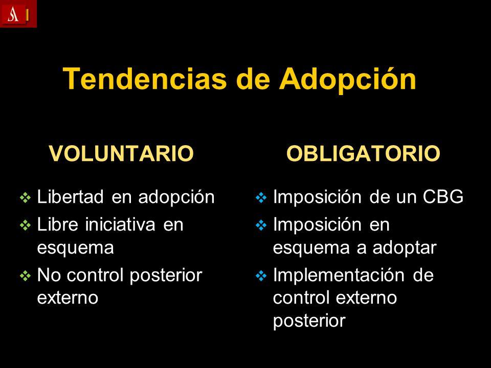 Tendencias de Adopción VOLUNTARIO Libertad en adopción Libertad en adopción Libre iniciativa en esquema Libre iniciativa en esquema No control posteri