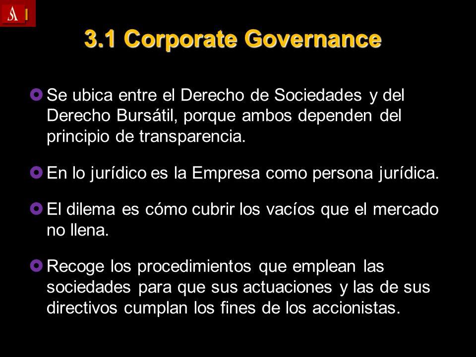 3.1 Corporate Governance Se ubica entre el Derecho de Sociedades y del Derecho Bursátil, porque ambos dependen del principio de transparencia. Se ubic