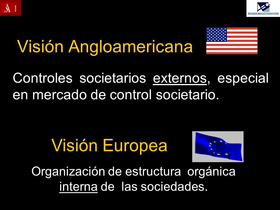 Visión Angloamericana Controles societarios externos, especial en mercado de control societario. Visión Europea Organización de estructura orgánica in