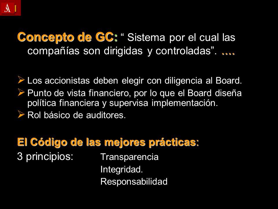 Concepto de GC: Sistema por el cual las compañías son dirigidas y controladas..... Los accionistas deben elegir con diligencia al Board. Los accionist
