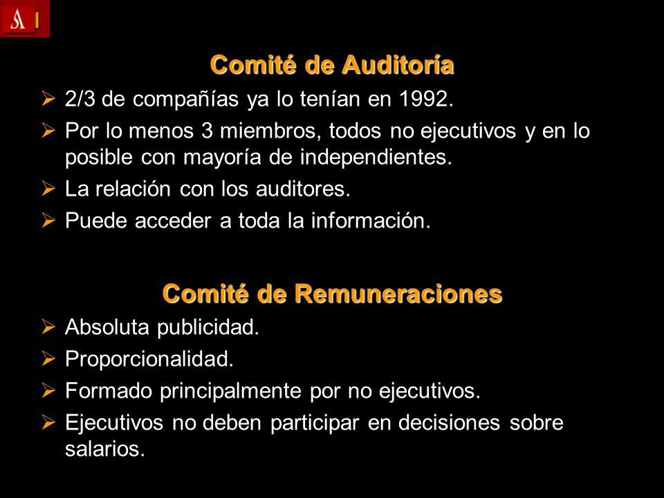 Comité de Auditoría 2/3 de compañías ya lo tenían en 1992. 2/3 de compañías ya lo tenían en 1992. Por lo menos 3 miembros, todos no ejecutivos y en lo