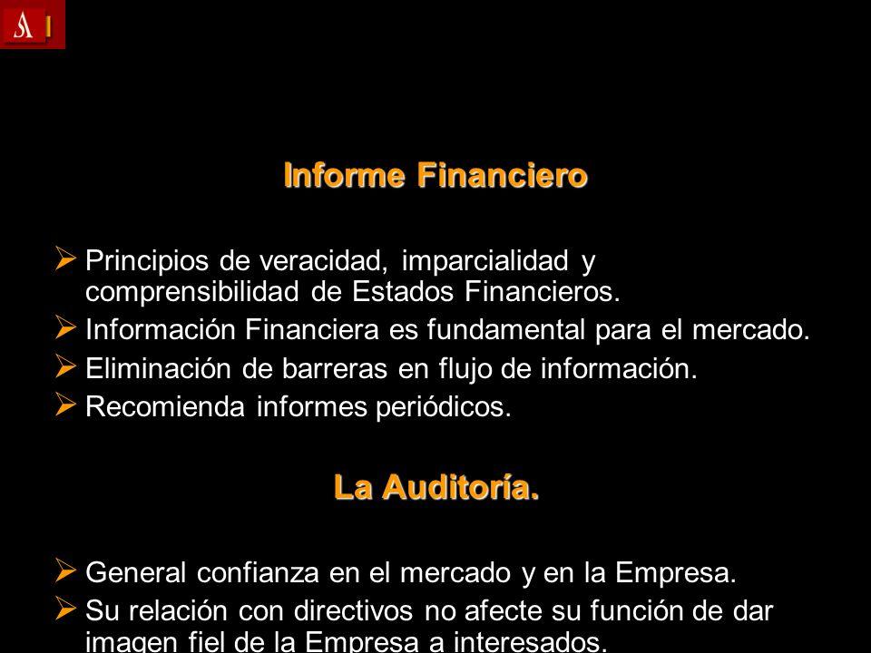Informe Financiero Principios de veracidad, imparcialidad y comprensibilidad de Estados Financieros. Principios de veracidad, imparcialidad y comprens