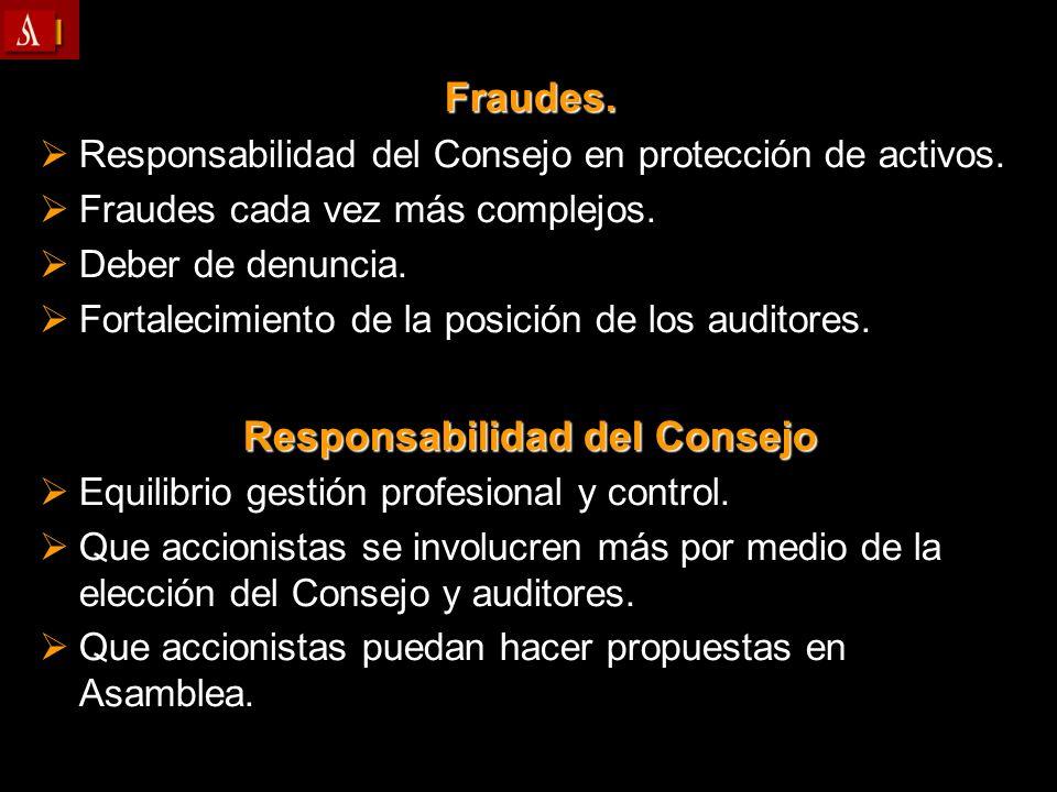 Fraudes. Responsabilidad del Consejo en protección de activos. Responsabilidad del Consejo en protección de activos. Fraudes cada vez más complejos. F