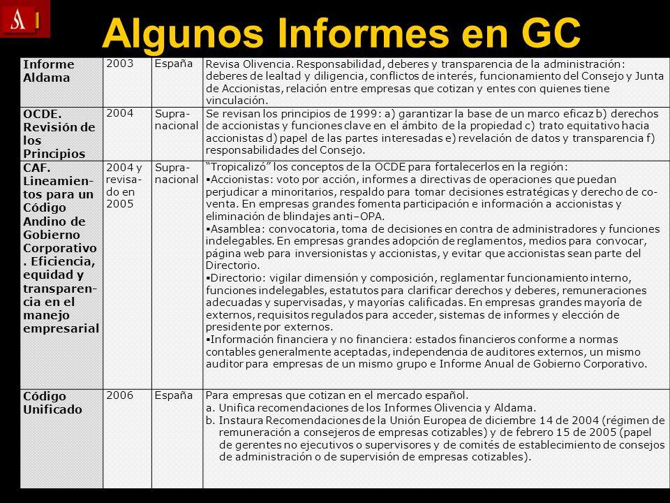 Algunos Informes en GC Informe Aldama 2003EspañaRevisa Olivencia. Responsabilidad, deberes y transparencia de la administración: deberes de lealtad y