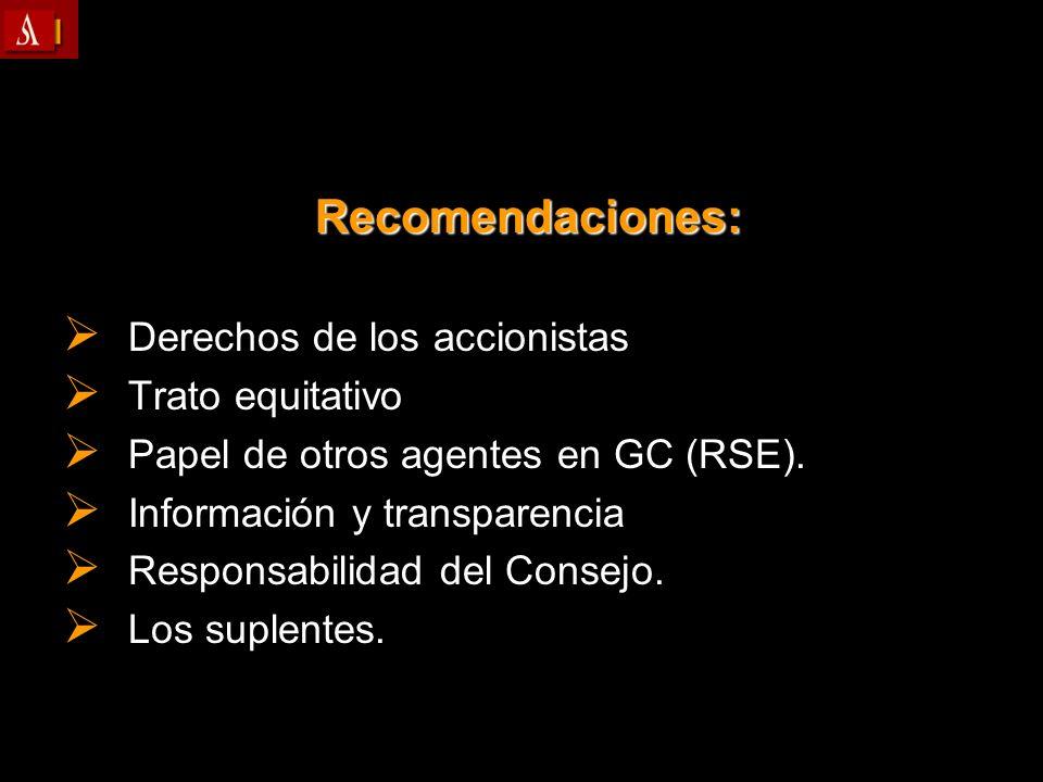 Recomendaciones: Recomendaciones: Derechos de los accionistas Derechos de los accionistas Trato equitativo Trato equitativo Papel de otros agentes en
