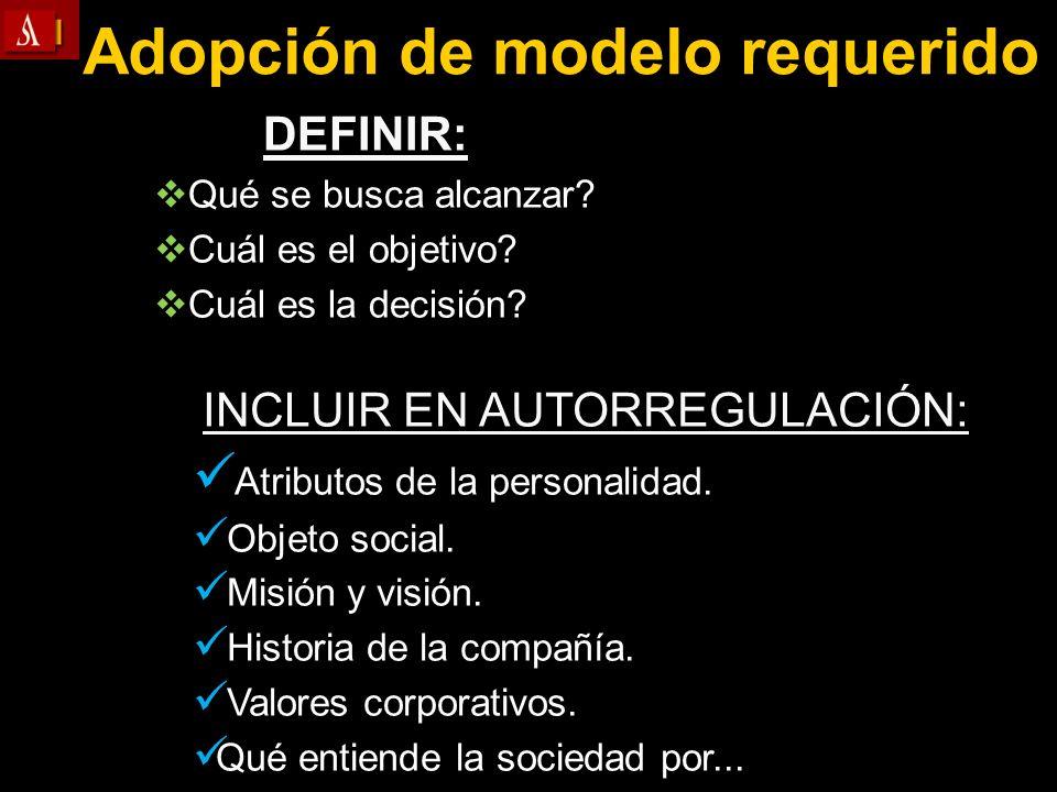 Adopción de modelo requerido DEFINIR: Qué se busca alcanzar? Cuál es el objetivo? Cuál es la decisión? INCLUIR EN AUTORREGULACIÓN: Atributos de la per