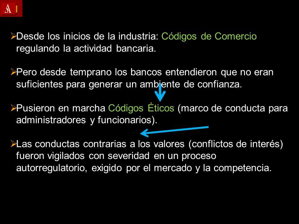 Desde los inicios de la industria: Códigos de Comercio regulando la actividad bancaria. Pero desde temprano los bancos entendieron que no eran suficie