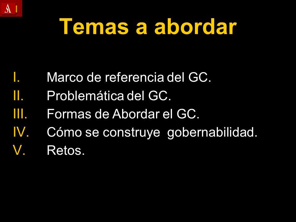 Temas a abordar I. I. Marco de referencia del GC. II. II. Problemática del GC. III. III. Formas de Abordar el GC. IV. IV. Cómo se construye gobernabil