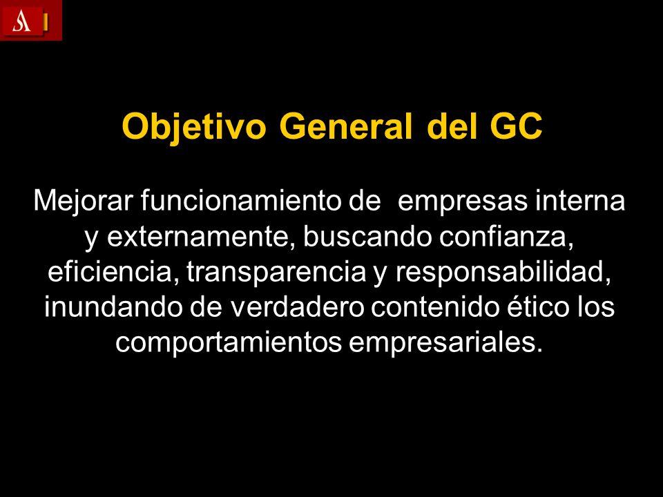 Objetivo General del GC Mejorar funcionamiento de empresas interna y externamente, buscando confianza, eficiencia, transparencia y responsabilidad, in
