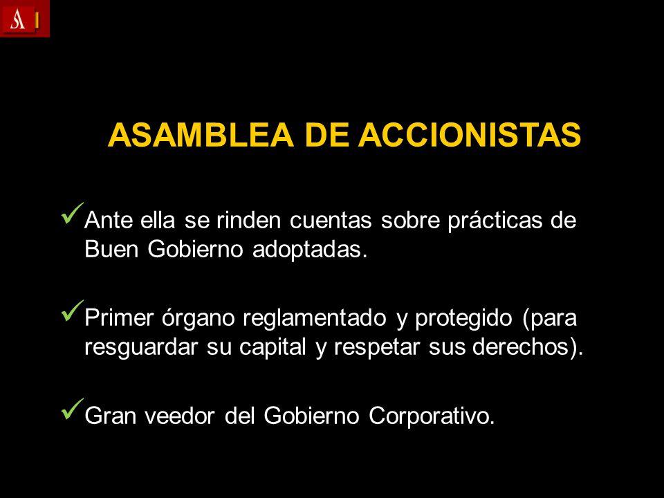 ASAMBLEA DE ACCIONISTAS Ante ella se rinden cuentas sobre prácticas de Buen Gobierno adoptadas. Primer órgano reglamentado y protegido (para resguarda