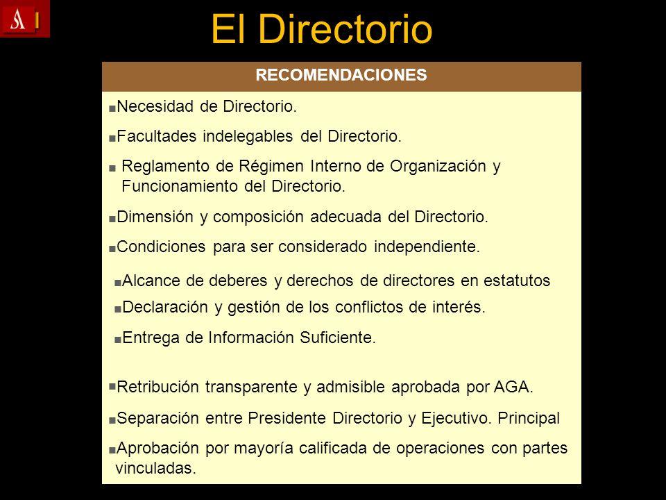 Separación entre Presidente Directorio y Ejecutivo. Principal Aprobación por mayoría calificada de operaciones con partes vinculadas. Reglamento de Ré
