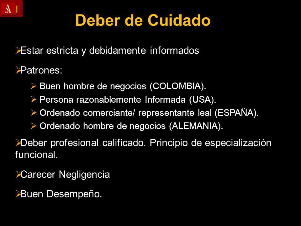 Deber de Cuidado Estar estricta y debidamente informados Patrones: Buen hombre de negocios (COLOMBIA). Persona razonablemente Informada (USA). Ordenad