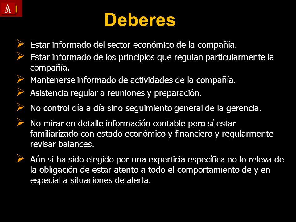 Deberes Estar informado del sector económico de la compañía. Estar informado del sector económico de la compañía. Estar informado de los principios qu