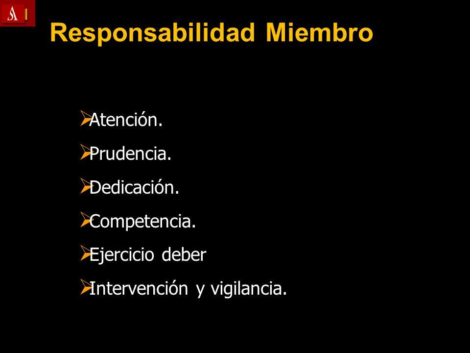 Responsabilidad Miembro Atención. Atención. Prudencia. Prudencia. Dedicación. Dedicación. Competencia. Competencia. Ejercicio deber Ejercicio deber In