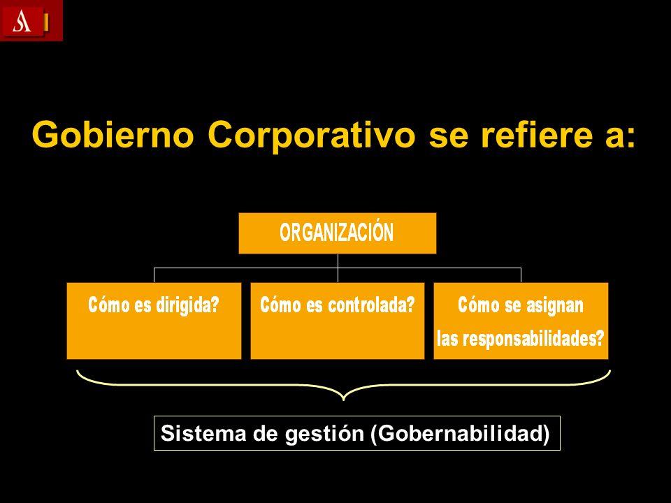 Sistema de gestión (Gobernabilidad) Gobierno Corporativo se refiere a: