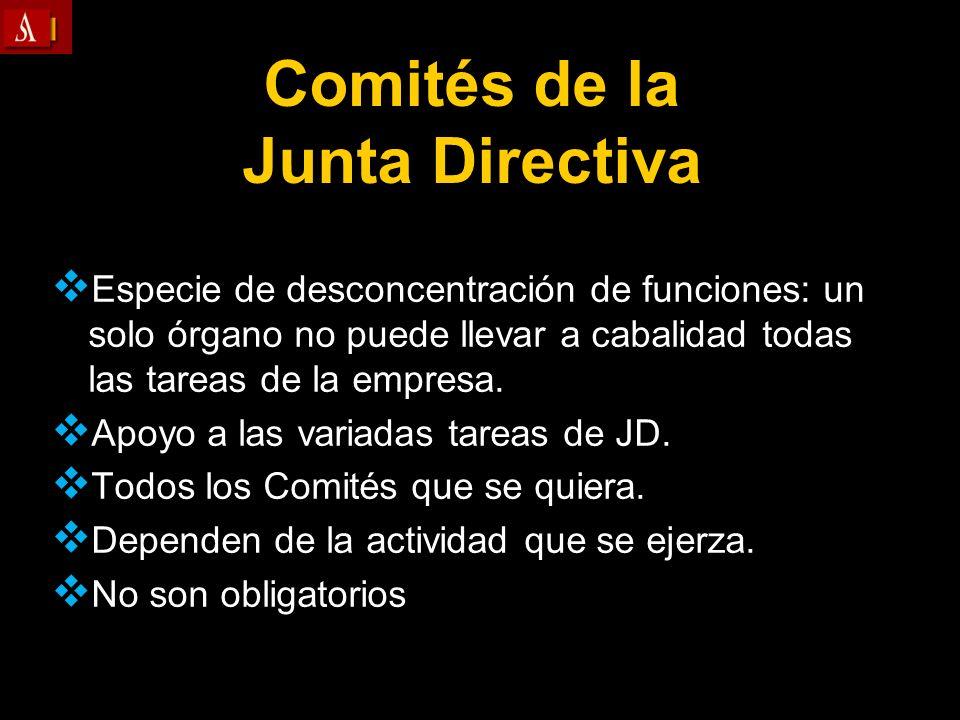 Comités de la Junta Directiva Especie de desconcentración de funciones: un solo órgano no puede llevar a cabalidad todas las tareas de la empresa. Apo