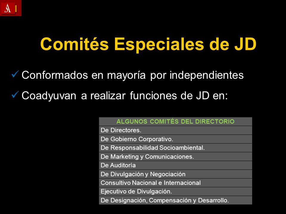 Conformados en mayoría por independientes Coadyuvan a realizar funciones de JD en: Comités Especiales de JD ALGUNOS COMITÉS DEL DIRECTORIO De Director